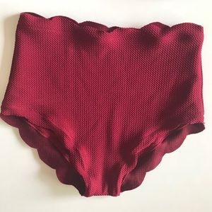 873b260ed1 Swim   Nwt High Waisted Scalloped One Shoulder Bikini   Poshmark